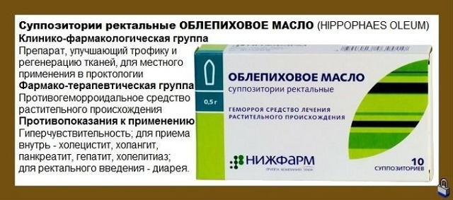 Свечи облепиховое масло при геморрое, инструкция по применению